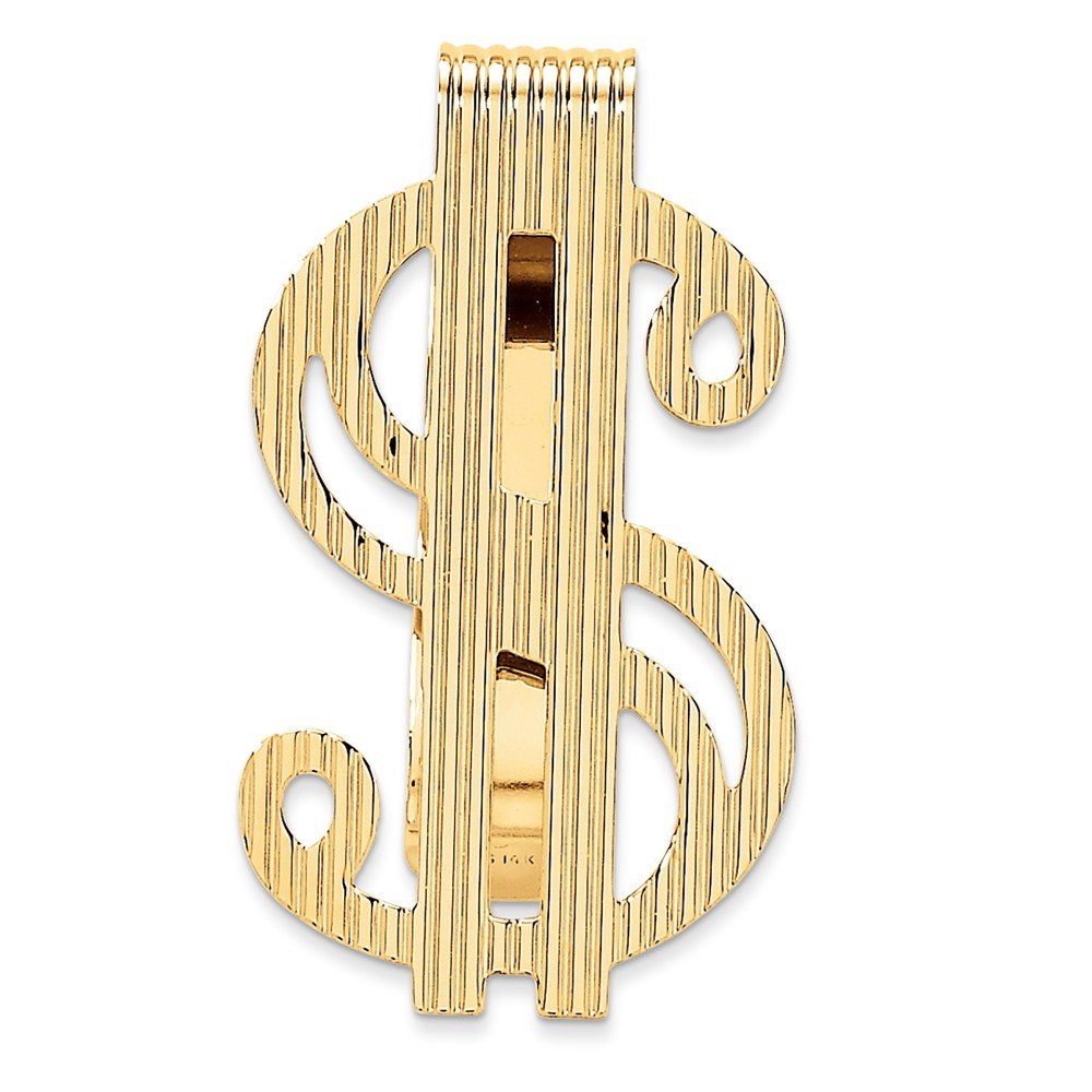 14k Solid Yellow Gold Polished Dollar Sign Money Clip