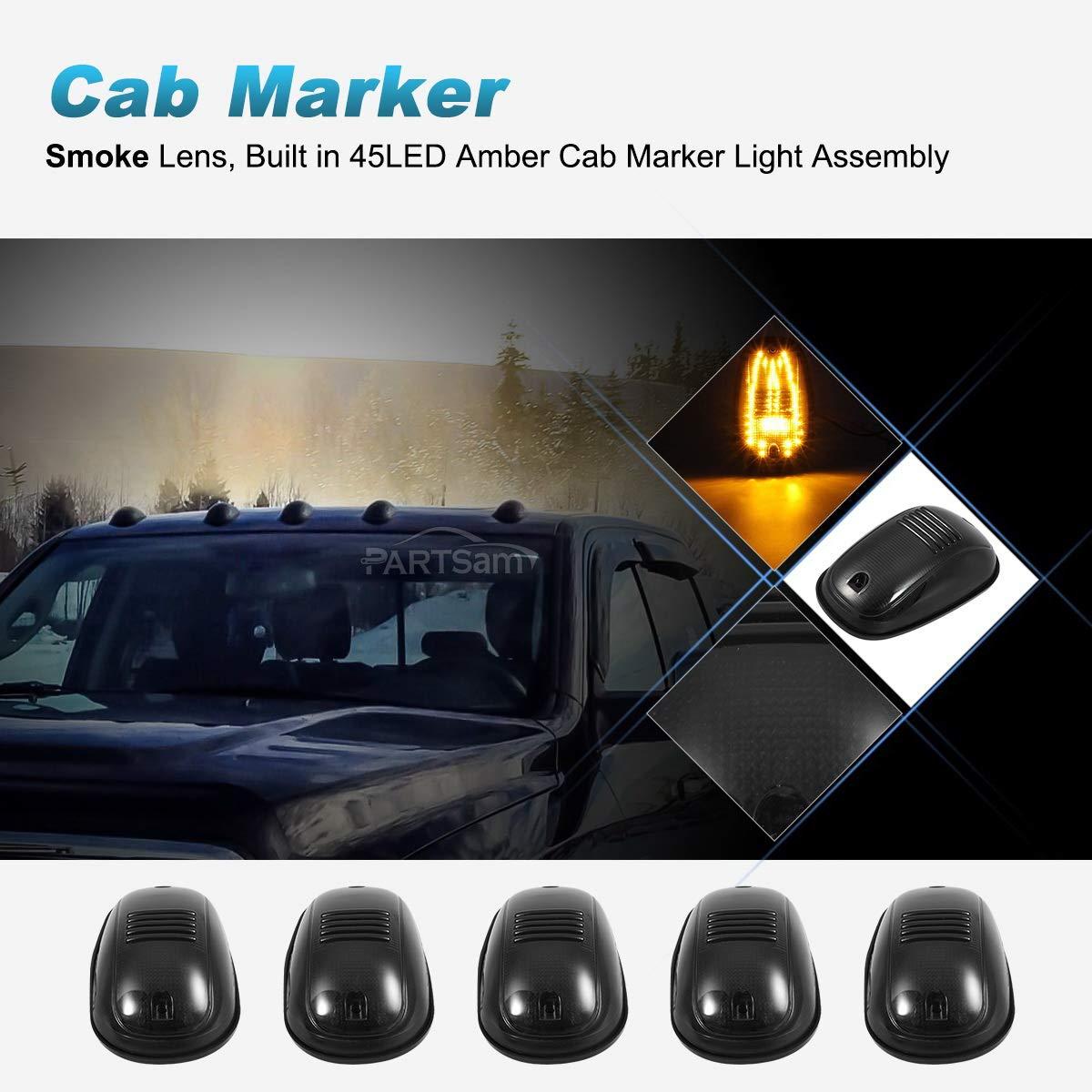 Partsam 5PCS Smoke Cover Lens Cab Marker Roof Running Light Amber 45LED Top Light Assembly Total 225LED Compatible with Dodge Ram 1500 2500 3500 4500 5500 2003-2018 Pickup Trucks