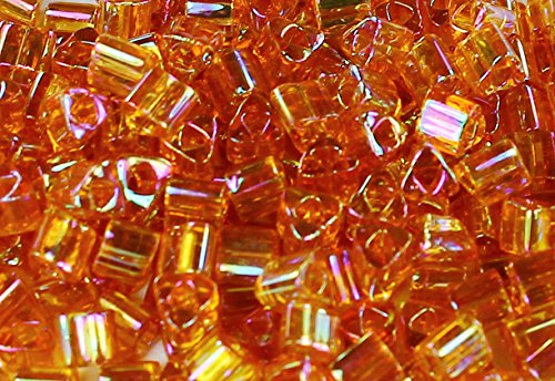 (8/0 Triangle TOHO Japanese Glass Seed Beads #162C-Trans-Rainbow Topaz 15g)