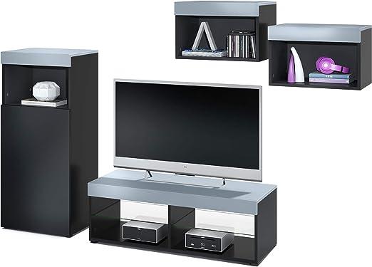 Vladon Conjunto de Muebles de Pared Pure, Cuerpo en Negro Mate/Partes Superiores y Paneles en Mezclilla   Amplia selección de Colores: Vladon: Amazon.es: Hogar