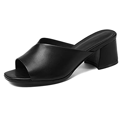 Talon ANNIESHOE Cuir 40CN Sandales Femme Mules Ete Confortable Noir wXq7wr