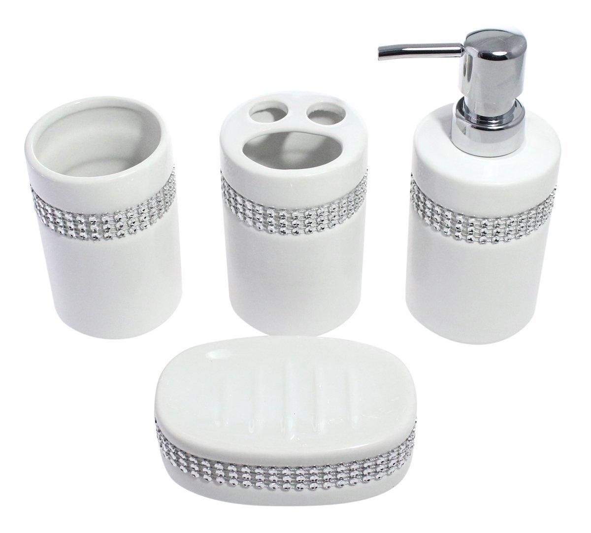 Amazon.com: 4 Piece White Ceramic Complete Bathroom Accessory Set ...