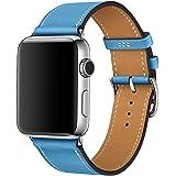 【WAfeel】Apple Watch アップルウォッチ通用バンド ウォッチ交換ベルト 本革レザー使用 全7色 上品なスタイル シンプルなデザイン仕様 男女兼用 (38mm, ブルー)