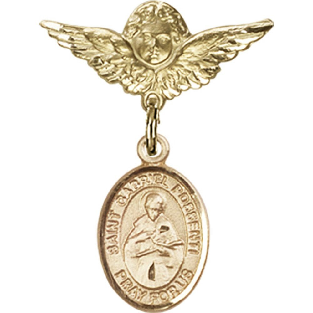 14kt Yellow Gold Baby Badge with St. Gabriel Possenti Charm and Angel w/Wings Badge Pin 1 X 3/4 inches