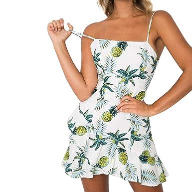 3db029ff425e justHIGH Women's Sexy Sundress Sexy Fruit Print Sling Small Fresh Bowknot  Back Mini Dress (S