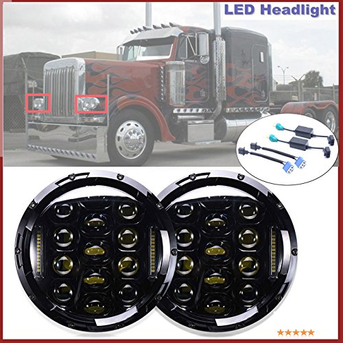 H6024-H4H13-Headlight-Conversion-LED-7-Inch-Round-High-and-Low-Sealed-Beam-Headlight-for-Freightliner-Century-Peterbilt-379-EXHD-359-H5024-6012-6014-6015-H6017-27270C-0547891-Package-of-2