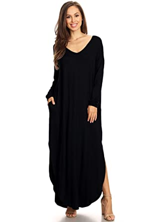 000ee68d5162 Casual Loose Pocket Oversized Fit Solid Knit Maxi Dress/Made in USA Black S