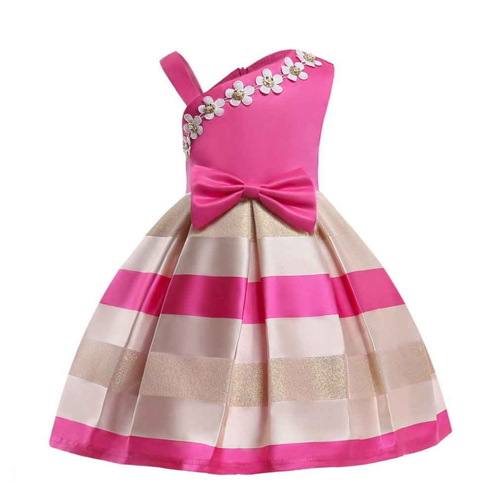 LZH Baby Girls Dress Ball Gown Party Wedding Special Princess Dresses,2140-rose Red,110(Age for 4-5Y)