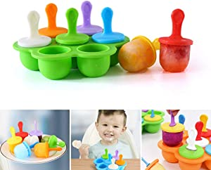 Silicone Ice Popsicle Pop Molds, DIY Popsicle Molds 7-Cavity Popsicle Mold, Multi-Function Popsicle Mold Non-Stick Ice Pop Maker for Kids Baby Food Freezer Trays