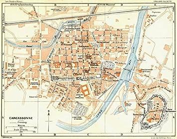 Antiqua Print Gallery France: Carcassonne, Mapa Vintage de 1926: Amazon.es: Juguetes y juegos