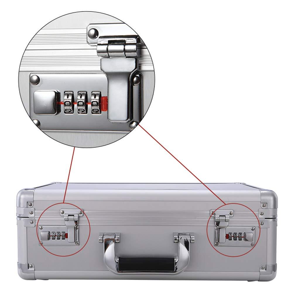 HUIYA Portable Password Box File Safe Portable Briefcase Light Storage Box Small Trumpet Household Password Box Double Password Lock Box Security (Sliver) by HUIYA (Image #3)