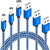 NANMING iphone Charger 3PCS 3FT 6FT 10FT Nylon Braided Lightning USB Cable Cord Charger Compatible with iPhone X iPhone 8 8 Plus 7 7 Plus 6 6s 6 Plus 6s Plus 5 5s 5c,iPad, iPod and More (Blue+White)