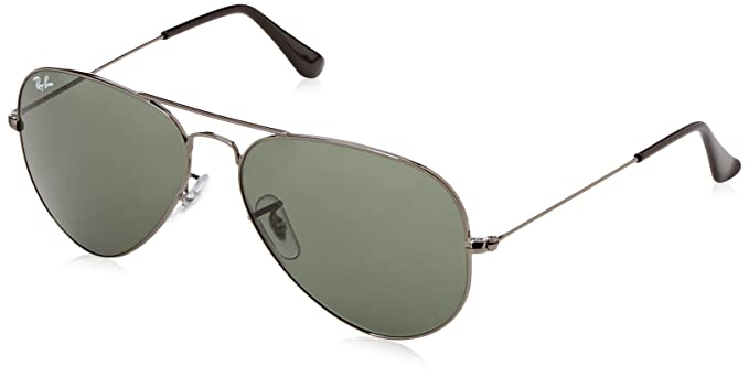 ray ban rb3025 original aviator 58mm  Amazon.com: Ray-Ban RB 3025 Sunglass, Gunmetal/Green Classic, 58 ...