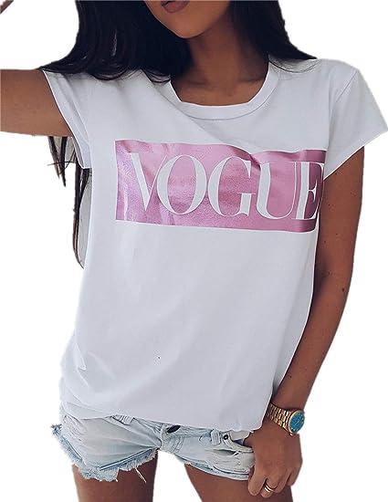 Camiseta De Manga Corta Camiseta Mujer Verano Cuello Redondo Estampado: Amazon.es: Ropa y accesorios