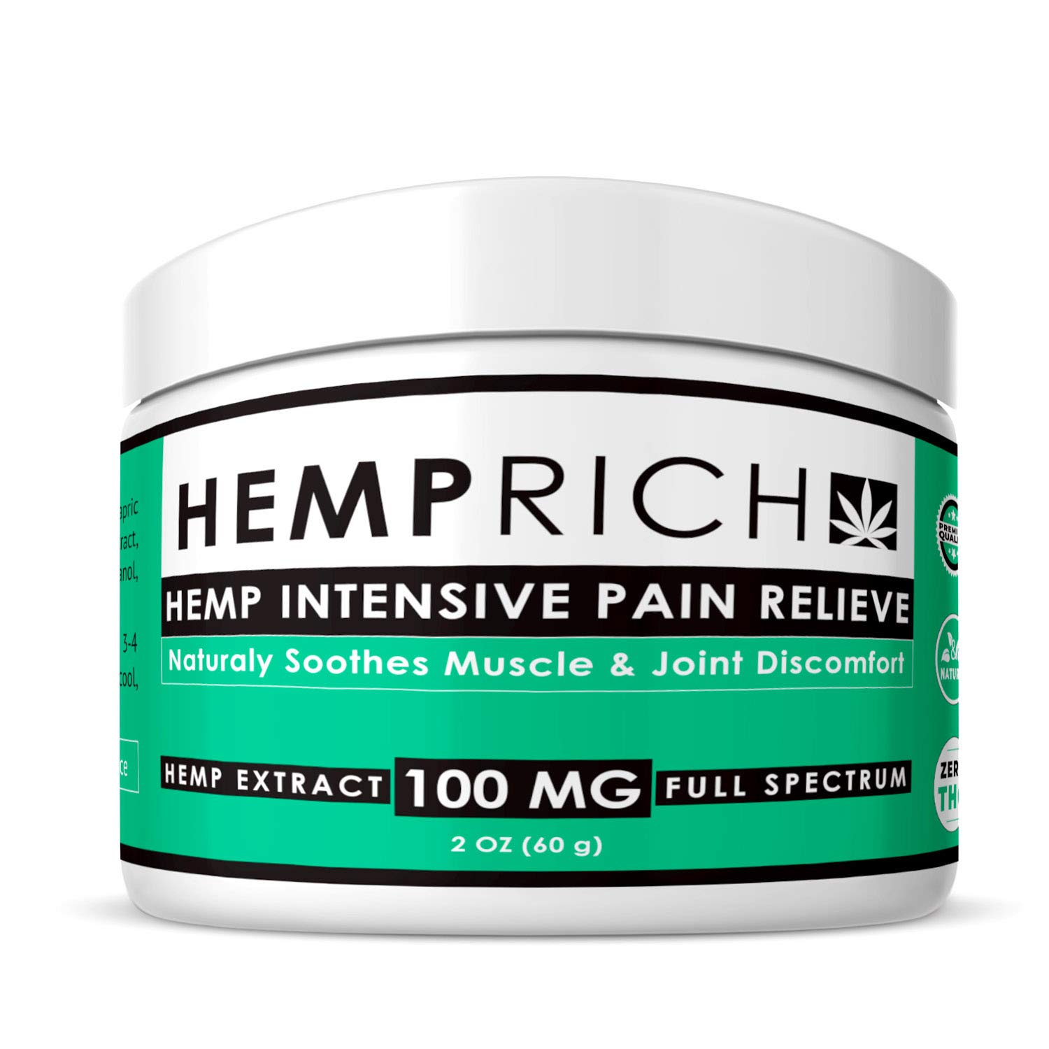 Hemp Extract Pain Relief Cream - 100 Mg - Made in USA - Contains Arnica, MSM & 10% EMU Oil - Fast Acting Natural Pain Reliever for Inflammation, Muscle, Joint, Back, Knee & Arthritis Pain - Non-GMO by Hemprich