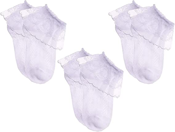 Newborn Girls Infant Socks Princess Ruffle Frilly Cotton Socks Crib Shoes 0-6M