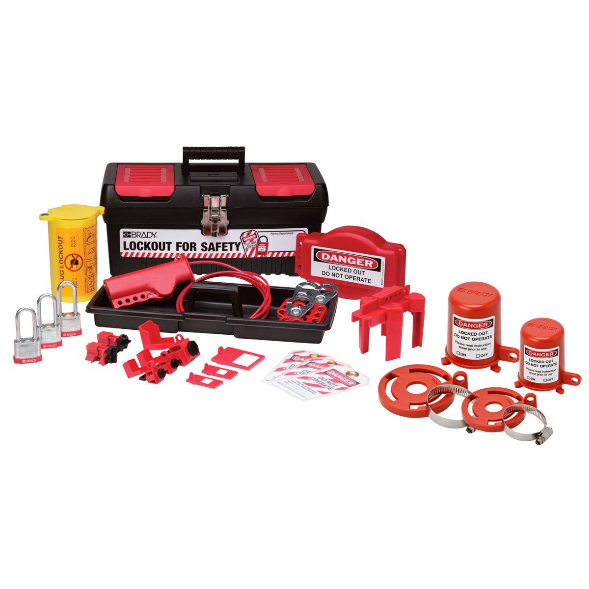 Brady Valve and Electrical Lockout Toolbox Kit, Includes 3 Steel Padlocks