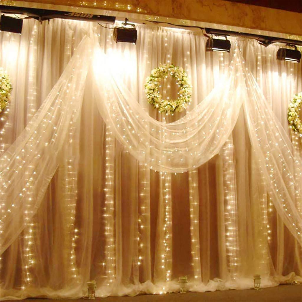 Juesi Curtain Light, 6x3 Meters 600 Lights USB Power Remote Control Indoor Outdoor Curtain Light Party Wedding Background Decoration Lights (White)