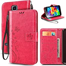 Korecase Premiun Wallet Leather Credit Card Holder Butterfly Flower Pattern Flip Folio Stand Case for Samsung Galaxy S5 NEO With a Wrist Strap - Rose