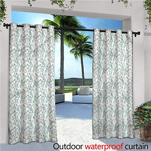warmfamily Paisley Exterior/Outside Curtains Hand Drawn Doodle Motifs for Patio Light Block Heat Out Water Proof Drape W84 x L96
