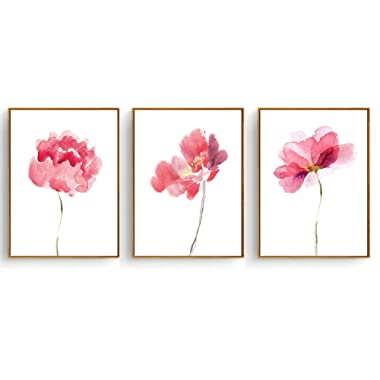 Hepix Canvas Wall Art, Abstract Pink Watercolor Flowers Canvas Print for Home Decor with 3 Panels, 13x17inch (Framed)