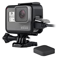 Frame Mount Housing Case for GoPro Hero 5 6 7 Black Action Camera - Protective Case with Quick Release Buckle, Long Thumb Bolt Screw, and Lens Cap - Black
