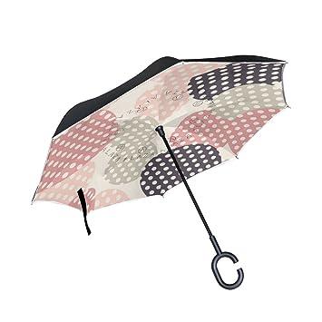 Mi Diario Doble Capa Paraguas invertido coches Reverse paraguas Vintage de círculos con lunares resistente al