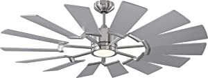 """Monte Carlo 14PRR52BSD Prairie II Windmill Energy Star 52"""" Outdoor Ceiling Fan with LED Light and Hand Remote Control, 14 Wood Blades, Brushed Steel"""