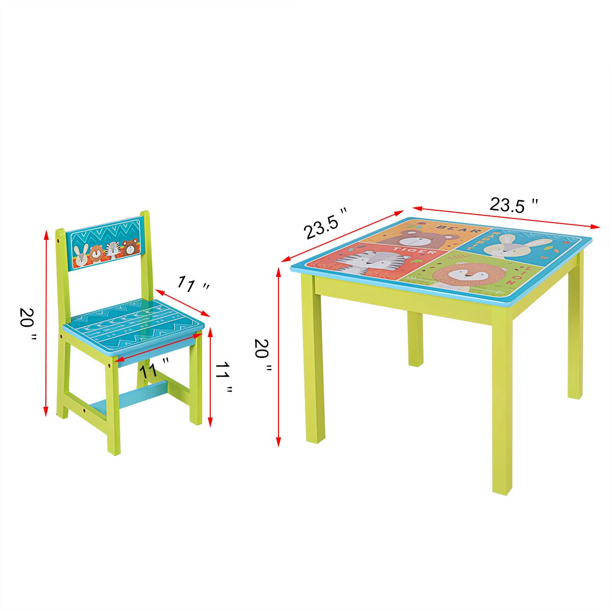 BABY JOY Kids Table and 4 Chairs Set, Wooden MDF Desk for Studying Playing Dining Indoors & Outdoors Activity, Toddler Baby Gift Desk Furniture Cartoon Pattern (Table and 4 Chairs) by BABY JOY (Image #6)