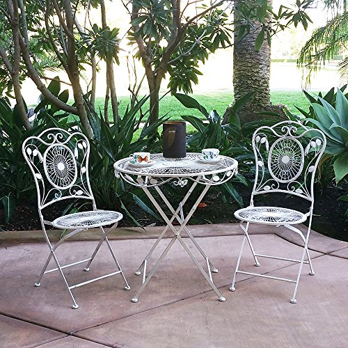 Modern Home Bordeaux Antiqued Iron 3pc Folding Bistro Set For Sale