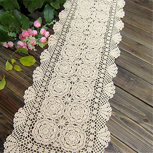 Hand Crocheted Runner (Hoomy America Style Vintage Hand Crocheted Table Runner Lace Floral Handmade Table Runners White Cotton Table Runner for Table Decor 15.5