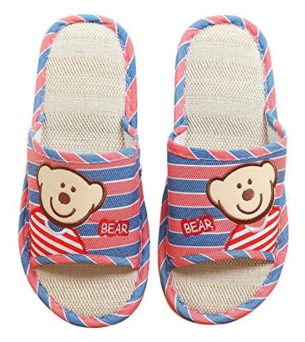 Pantofole Da Donna Di Blubi Da Donna Estate Lino Casa Pantofole Da Donna Accoglienti Pantofole Open Toe Cocomero Rosso