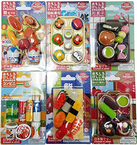 IWAKO Japanese Erasers (Japanese Food & Dessert & Snack & Drink Combo Set) / Total 38 Food & 4 parts erasers