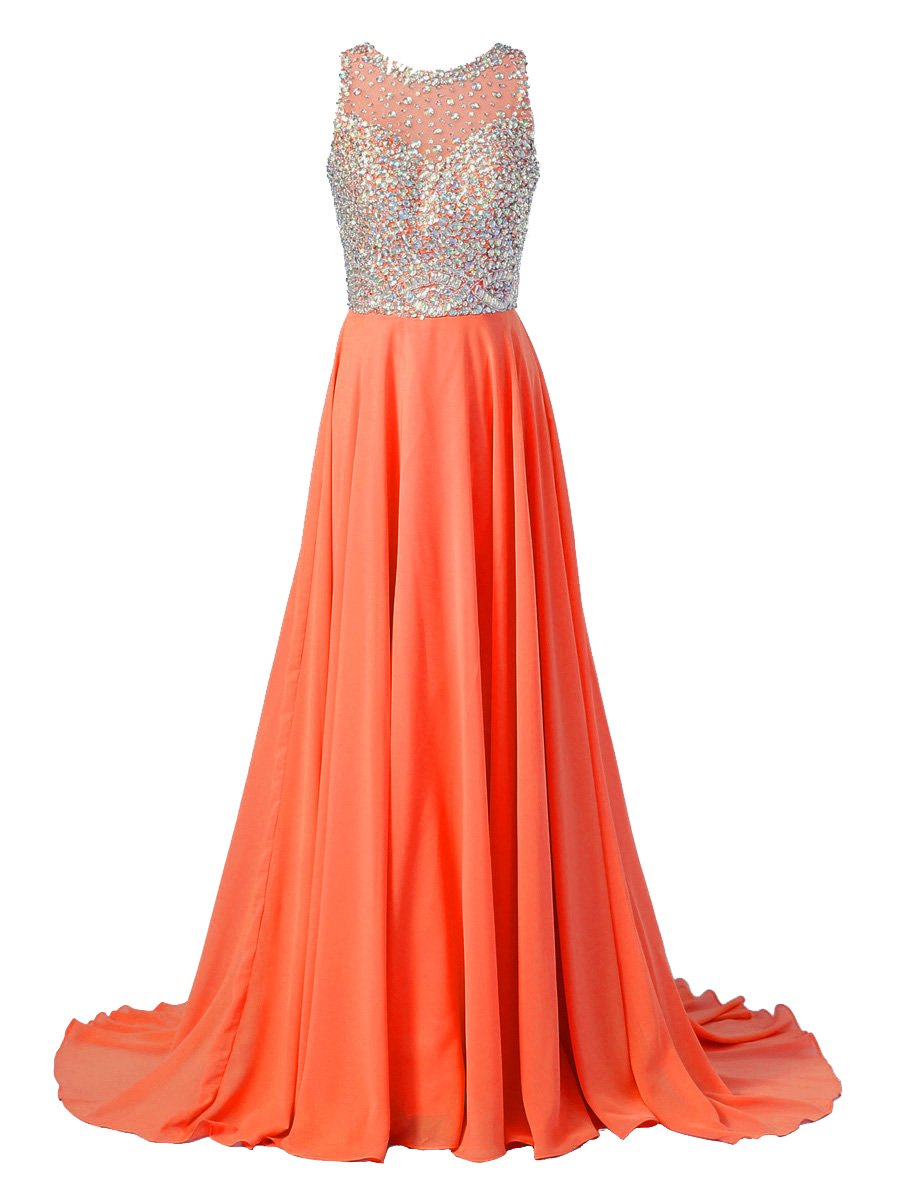 Callmelady Chiffon Long Prom Dresses 2017 with High Neck & Beaded Mesh Bodice (Orange Red, US10)