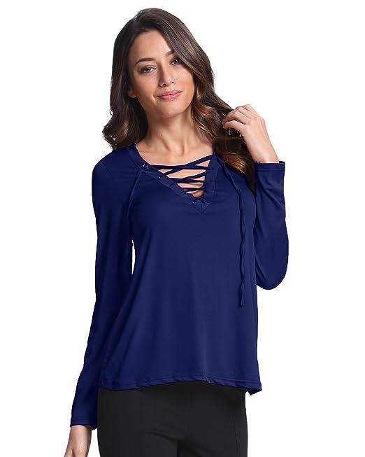 StyleDome Mujer Camiseta Blusa Mangas Largas Casual Elegante Oficina Cuello V Tiras Azul Royal EU 46
