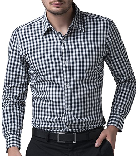 Casual Slim Fit Plaid Dress Shirts for Men Long Sleeve