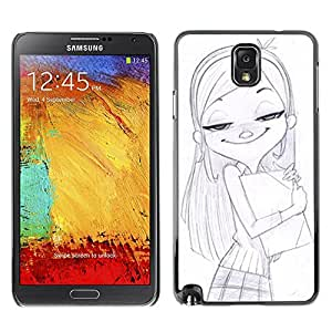 Plastic Shell Protective Case Cover    Samsung Galaxy Note 3 N9000 N9002 N9005    Girl School Drawing Pencil Art Blonde @XPTECH