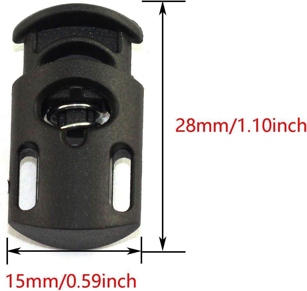 DGZZI 20PCS Nylon Plastic Cord Locks 1123mm End Spring Stop Toggle Stoppers Black