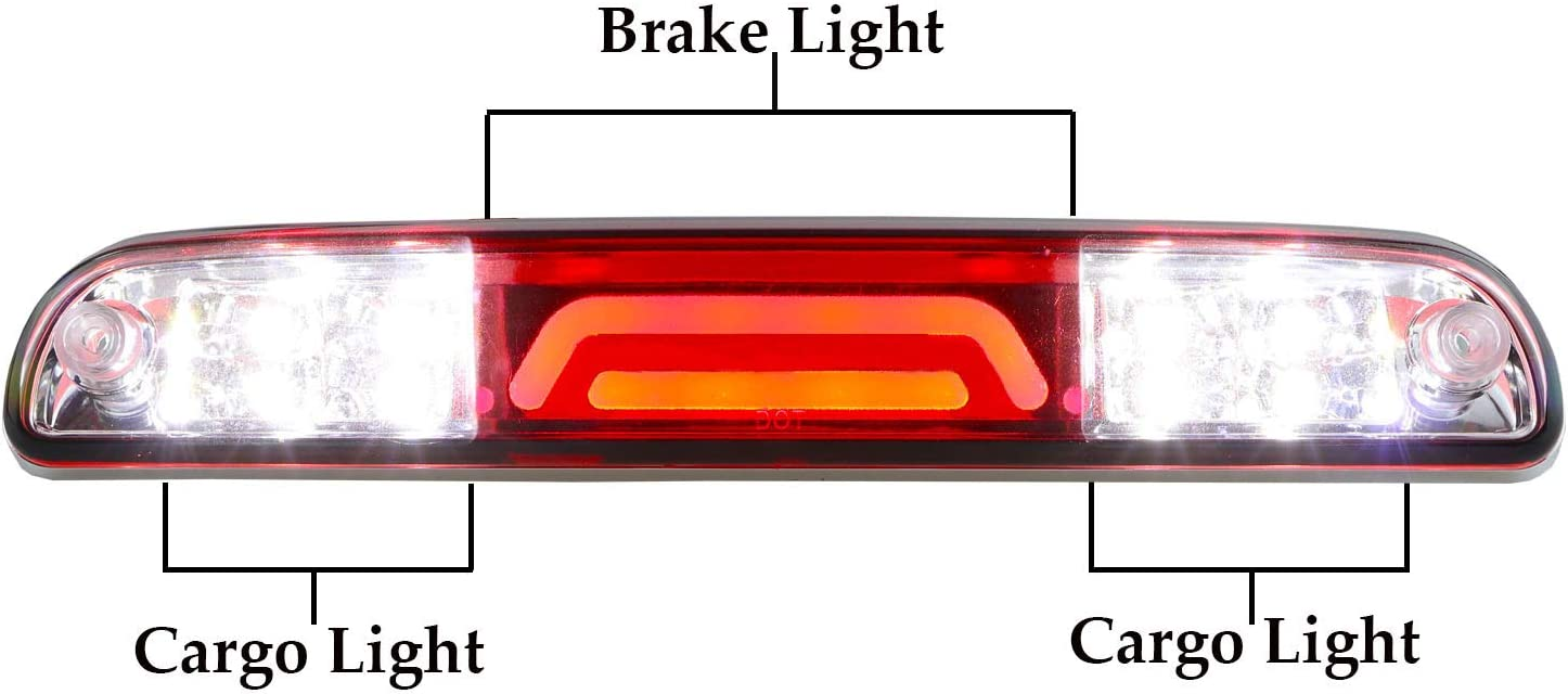 Chrome Housing Clear Lens LED 3rd Brake Light Rear Tail Cargo Lamp Waterproof High Mount Brake Light Replacement For Ford Super Duty//Ranger//Mazda B-Series YC3Z13A613BA