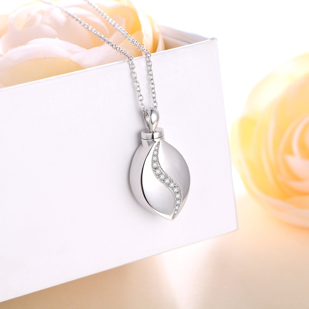 20 SILVER MOUNTAIN 925 Sterling Silver Cremation Jewelry Forever in My Heart Ashes Keepsake Urns Pendant Necklace