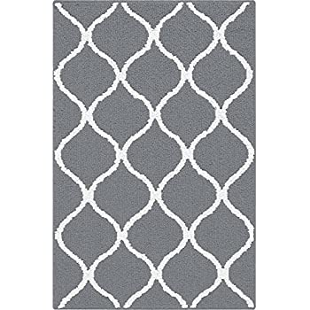 Amazon Com Modern Grey Entrance Rug Washable Bathroom Rug