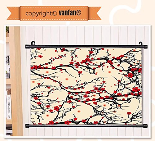 vanfan Wall Scroll Poster- Japanese Asian Nature Cherry Blos
