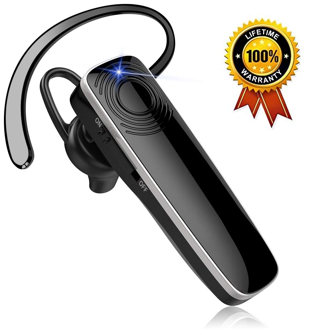 New bee Bluetooth Earpiece HD Stereo Ultralight Wireless Handsfree Headset 12Hrs Talktime Noise Cancelling Mic Driving Headset Compatible with iPhone Android Businessman Driver Trucker by New bee