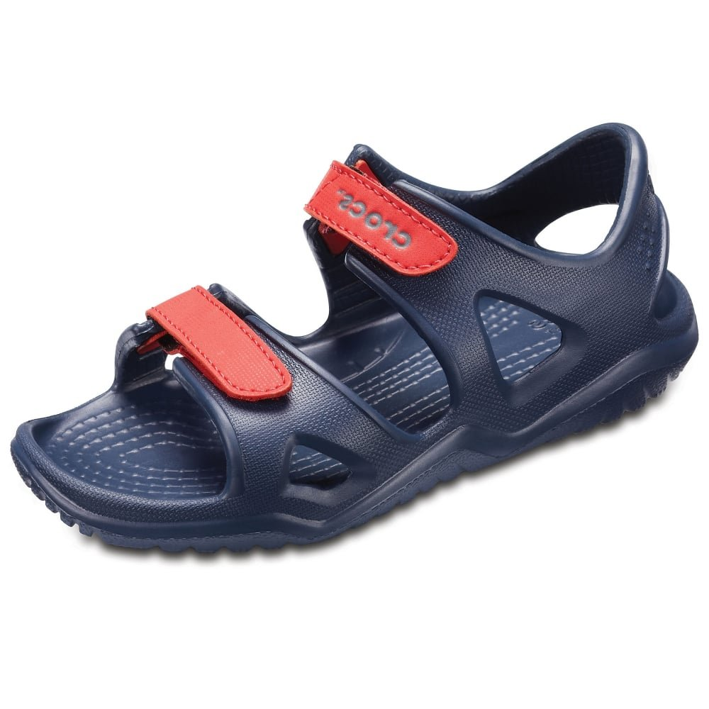 Crocs Unisex Swiftwater River Sandal Clog, Navy/Flame, 12 M US Little Kid