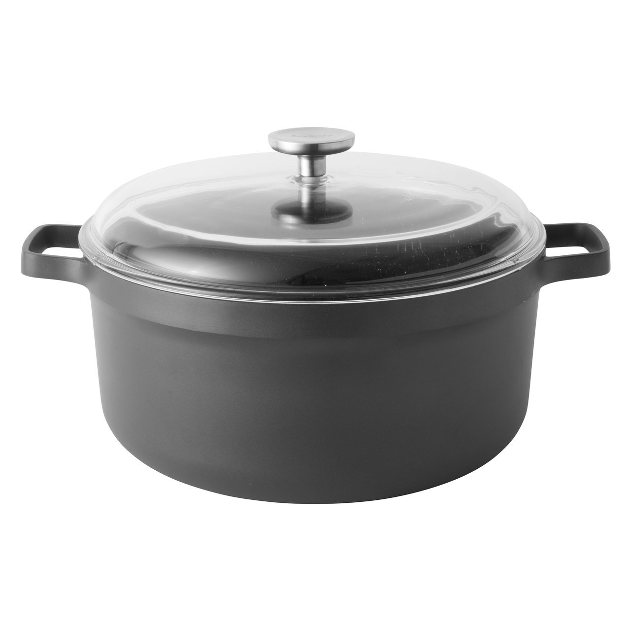 Berghoff Gem Non-Stick Induction-Safe Stockpot with Glass Lid, 36 x 29 x 20 cm, Black