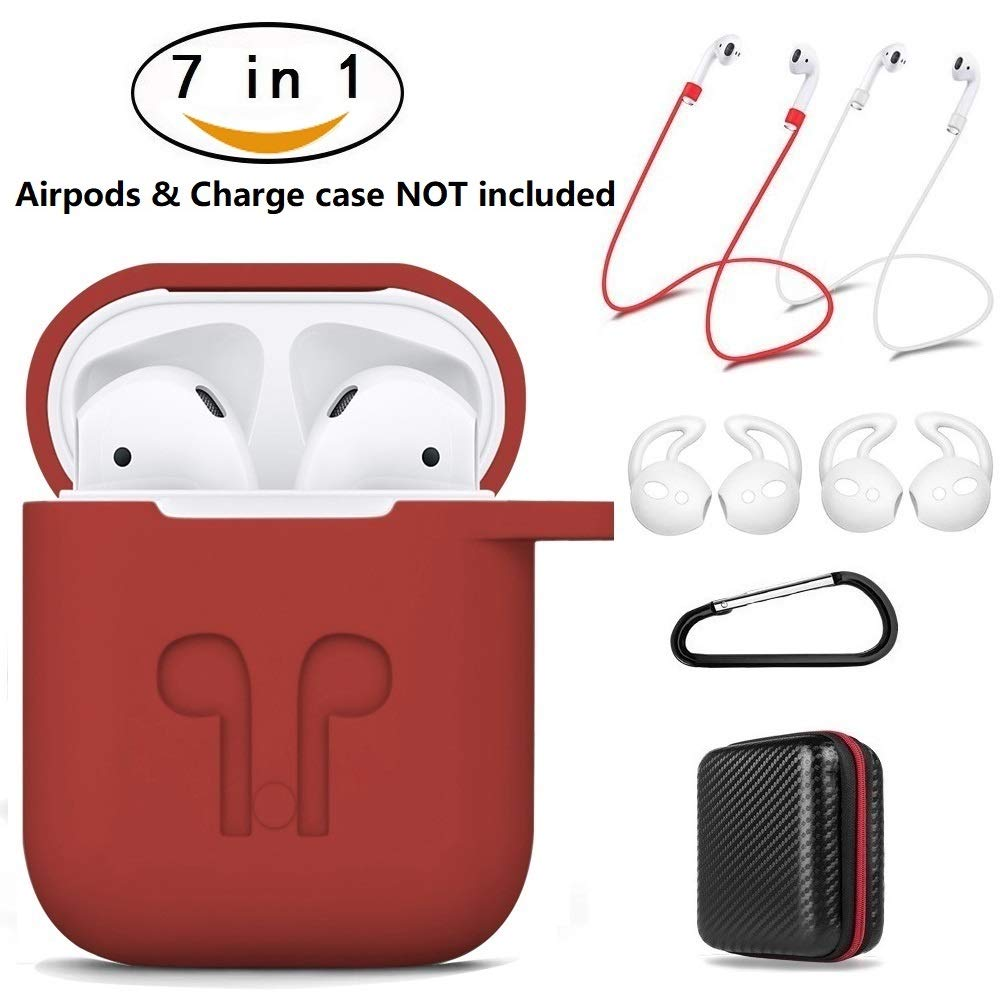 AirPods Case 7 in 1 Airpods Accessories Kits Protective Silicone Cover Skin Apple Airpods Charging Case Airpods Ear Hook Grips/Airpods Staps/Airpods Clips/Skin/Tips/Grips(Red) Amasing …