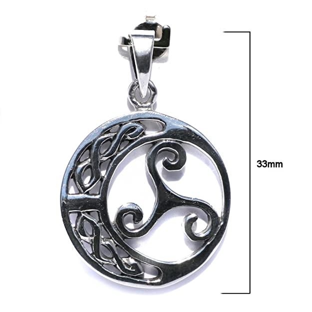 Solid Sterling Silver Triskelion With Celtic Moon Triskele Trinity