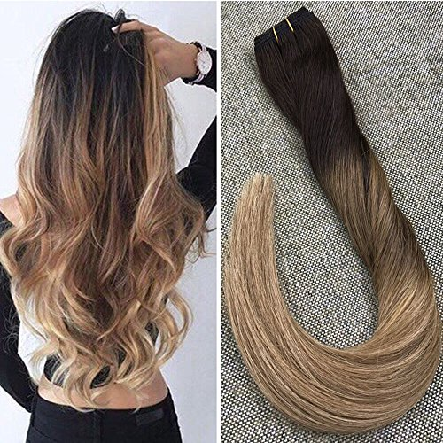 Ugeat 14inch Balayage Ombre Real Human Hair Bundle Brown and