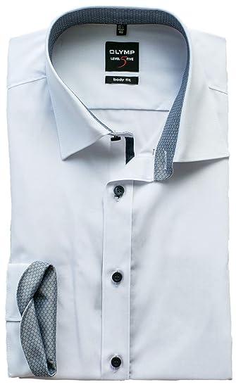 OLYMP Herrenhemd Level Five 5 Body Fit Langarm Under-Button-Down Comfort Stretch Wei/ß