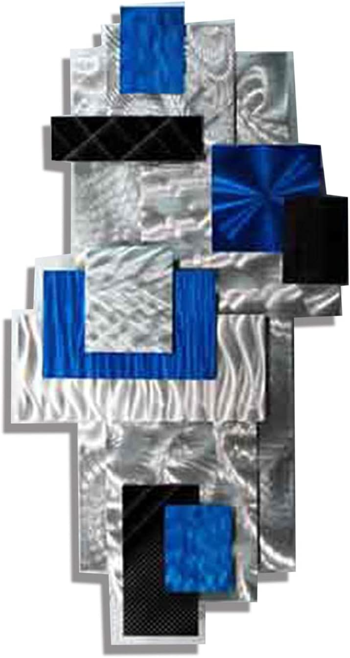Eye-Catching Modern Silver, Blue & Black Hand-Crafted 3D Abstract Metallic Wall Sculpture - Geometric Home Accent, Home Decor, Contemporary Metal Wall Art - Power Play by Jon Allen - 31
